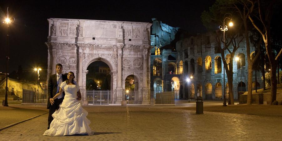 servizio fotografico di matrimonio di notte